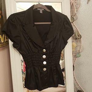 Black silk like blouse